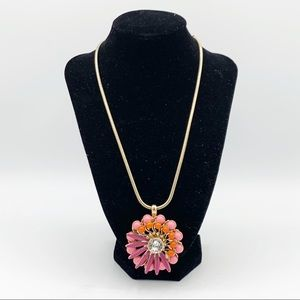 Coldwater Creek Flower & Rhinestone Necklace